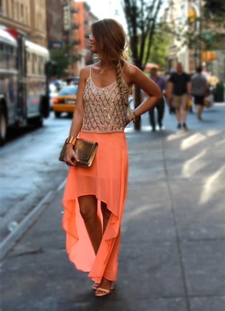 Mira con alta falda inferior y superior glamour