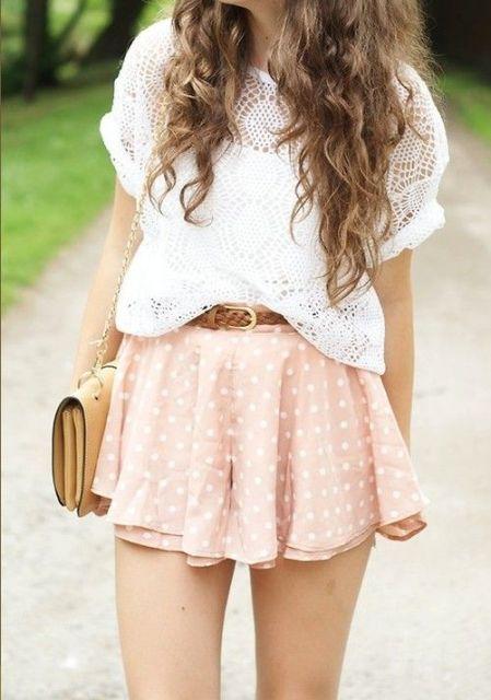 suave falda de lunares y encaje camisa