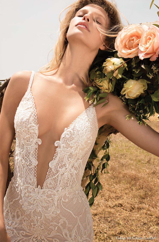 vestido de novia de la envoltura del cordón de gala galia primavera Lahav 2017 correas sin mangas con cuentas profunda vneck (708) ZFV