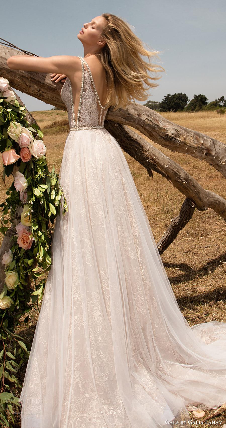 vestido de novia aline profunda vneck gala galia primavera Lahav 2017 mangas (711) mv tren de bolsillo