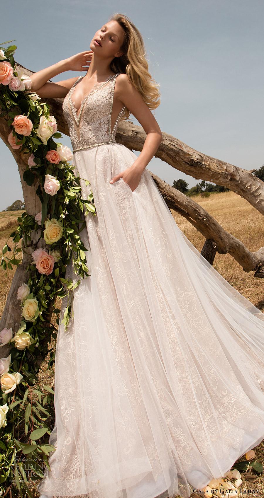 vestido de gala mv galia primavera Lahav 2017 mangas de la boda aline profunda vneck (711) mv bolsillo