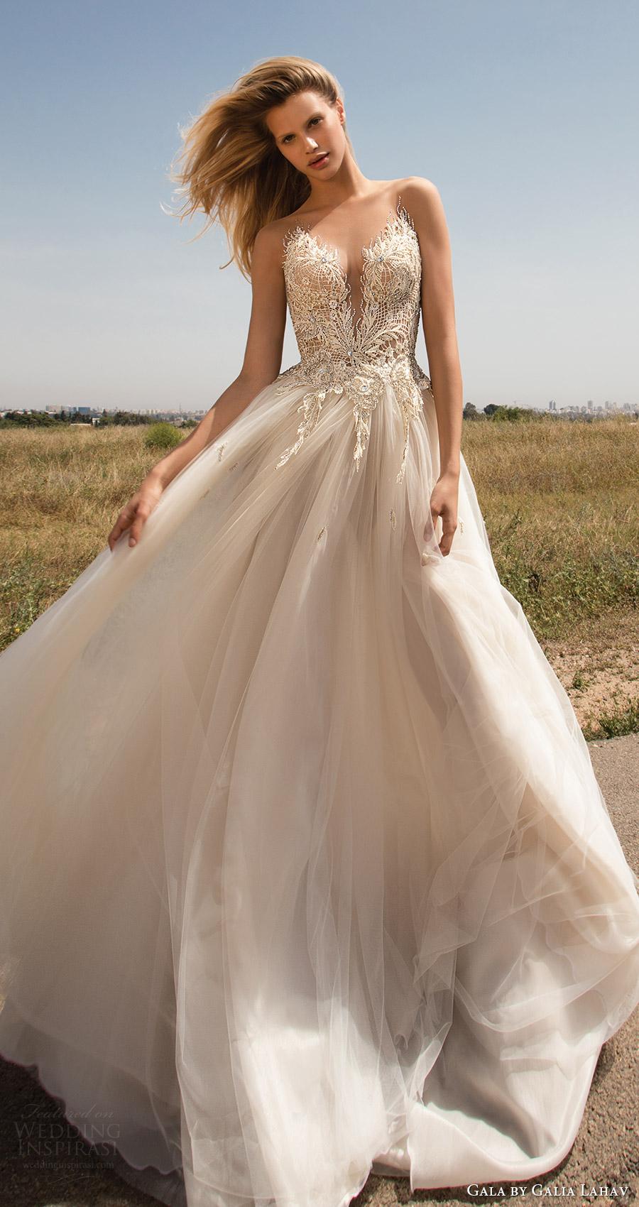 primavera Lahav vestido de boda del amor aline gala galia 2017 sin mangas de la blusa embellecida ilusión (706) mv