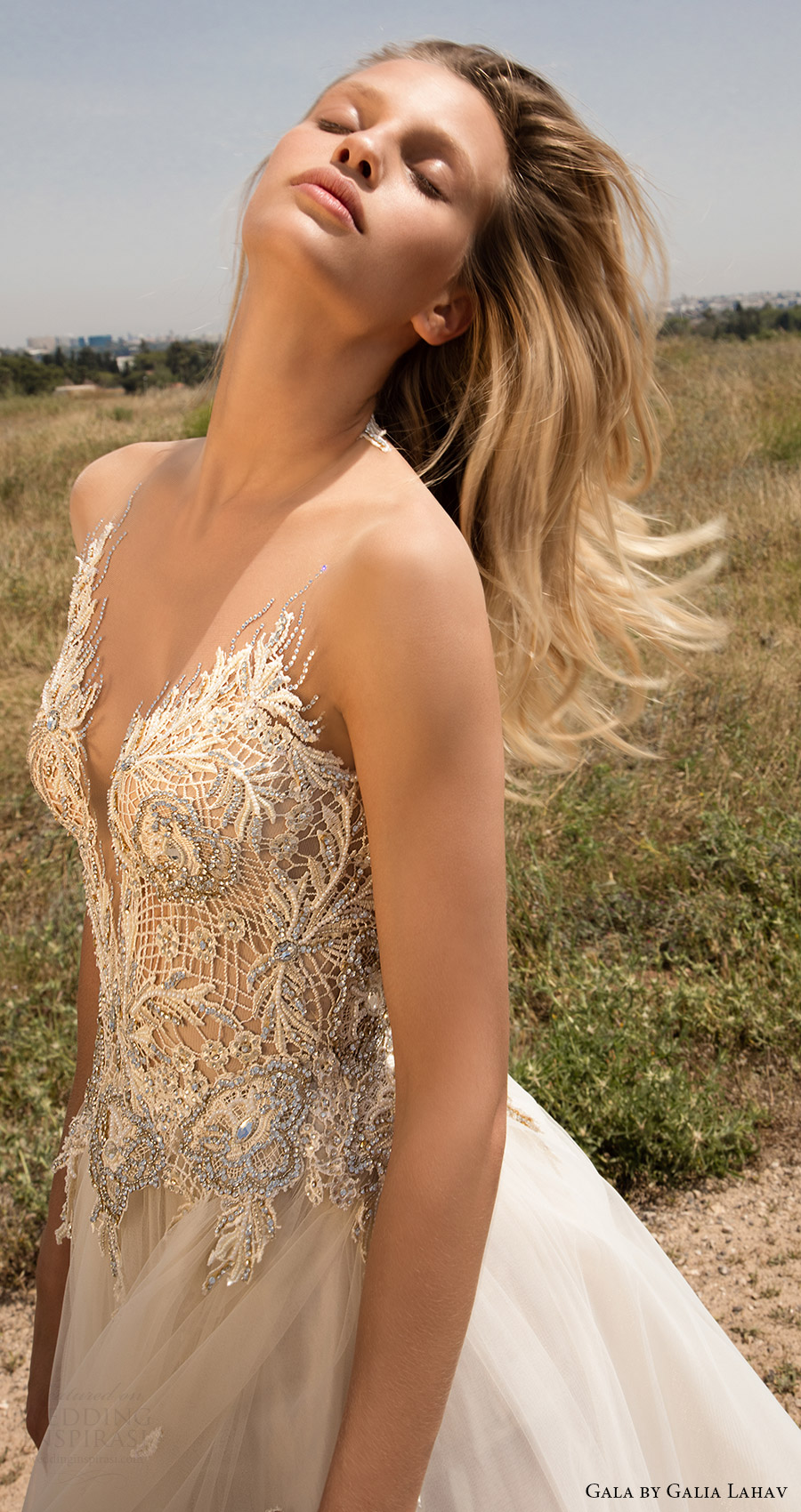primavera Lahav vestido de novia aline gala galia 2017 mangas ilusión embellecido la blusa del amor (706) ZFV