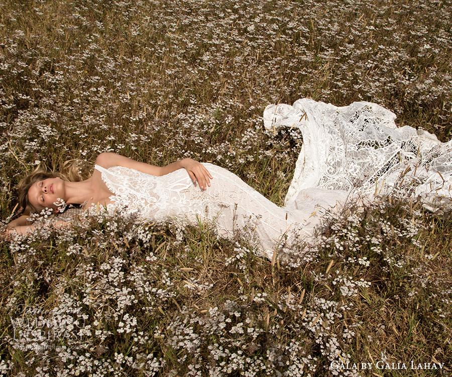 Gala galia Lahav primavera 2017 correas sin mangas cuello en v vestido de novia de la envoltura del cordón (709) de tren fv