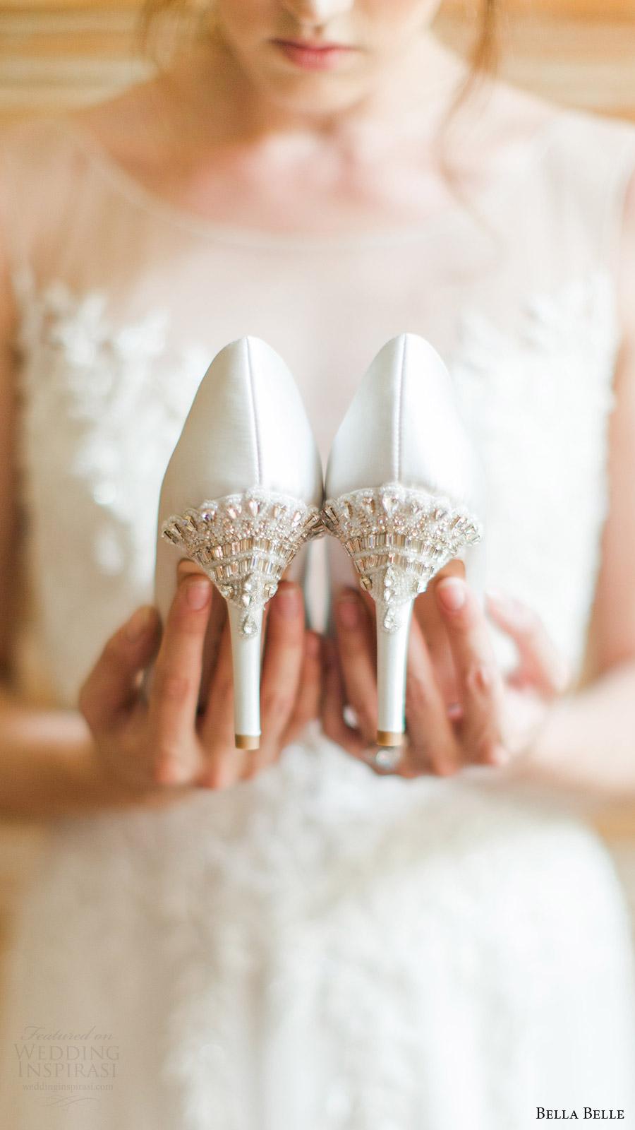 zapatos de novia bella belle bombas 2016 de la boda de Elizabeth talones de cuentas