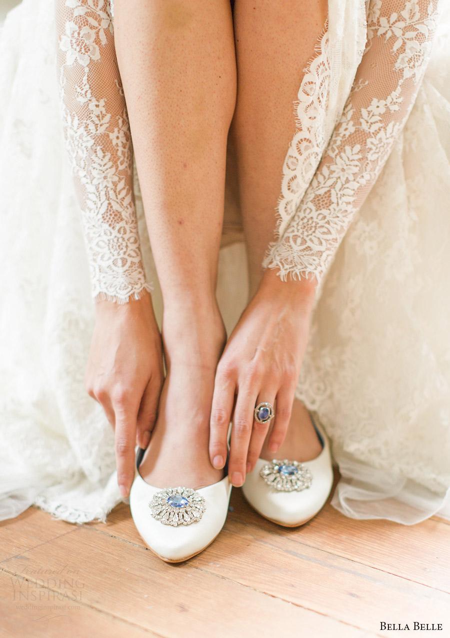 zapatos de novia bella belle 2016 de boda Jackie pisos de piedra azul algo
