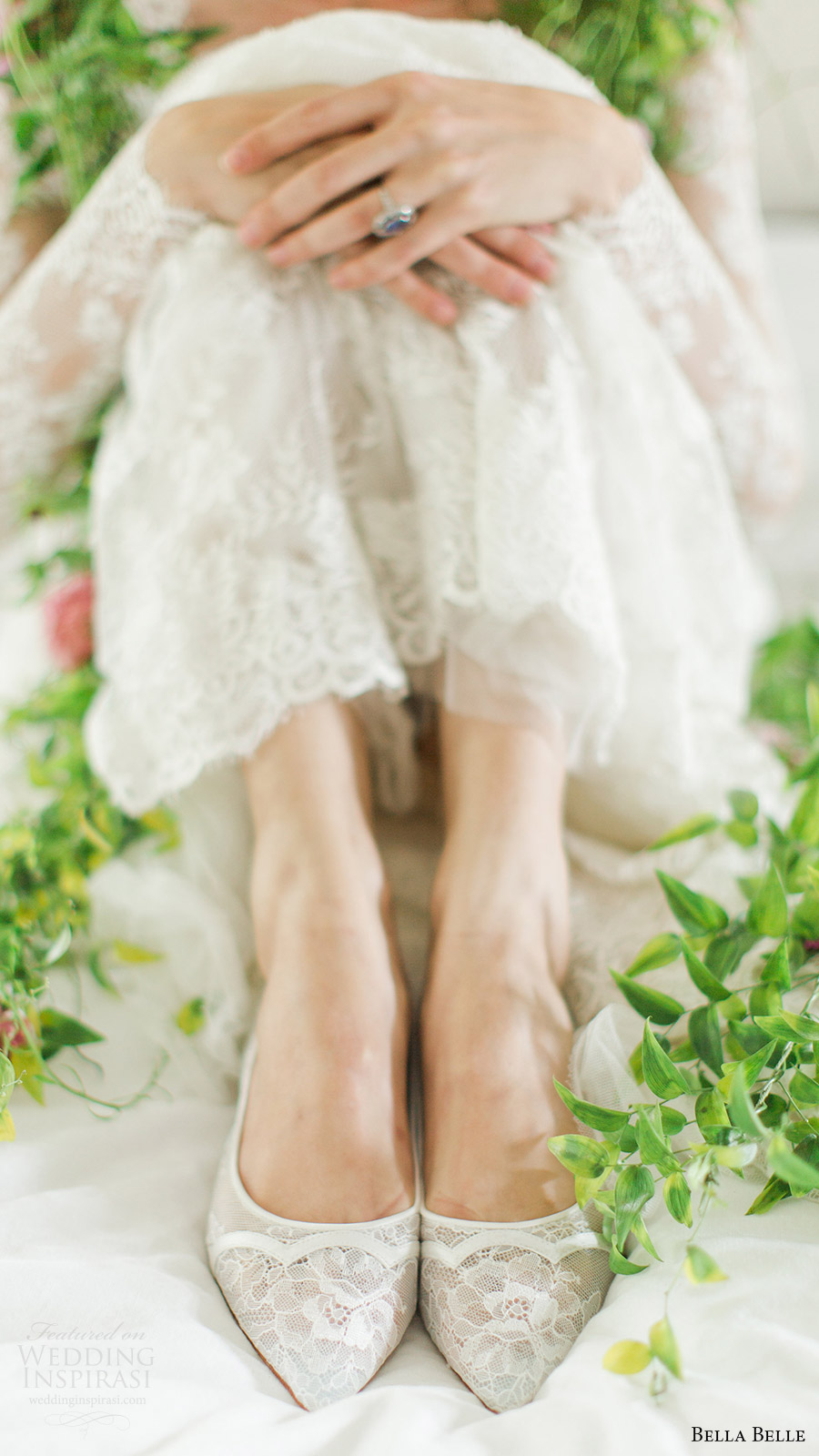 bella belle zapatos de novia 2016 Sophie festoneado zapatos de boda de encaje plana Chantily