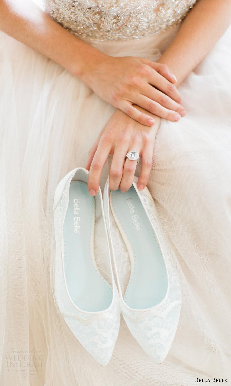 bella belle zapatos de novia zapatos de la boda plana 2016 Sophie festoneado de encaje Chantily