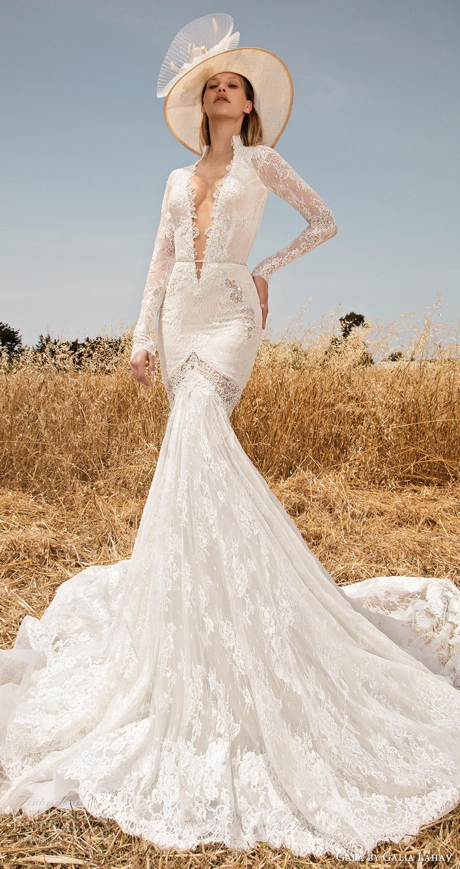 traje de gala galia Lahav primavera 2017 mangas largas ilusión de profundidad vneck boda de la sirena del cordón (701) mv