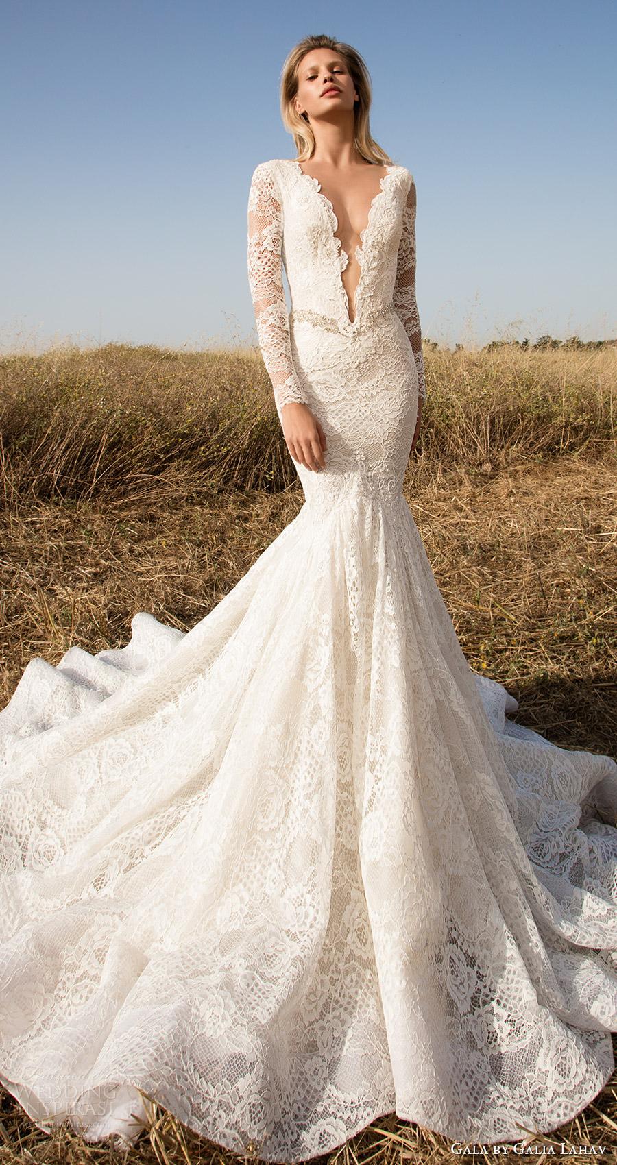 vestido de novia de encaje sirena profunda vneck mangas largas gala galia Lahav primavera 2017 ilusión (703) tren mv