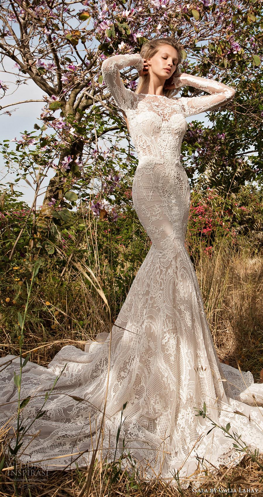 Gala galia Lahav primavera 2017 ilusión de manga larga vestido de cuello joya de la sirena de boda del cordón (705) mv