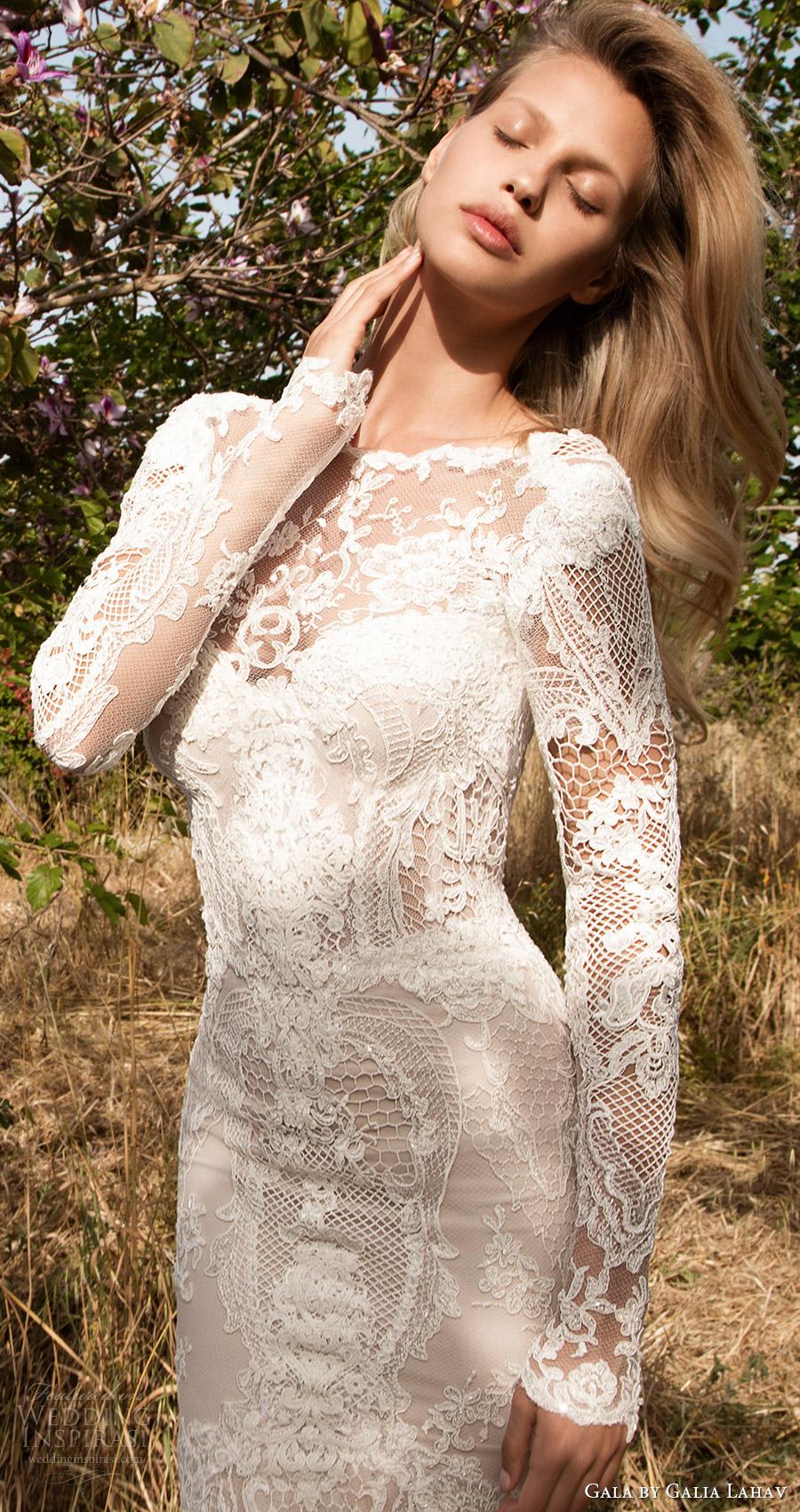 cuello joya de vestido de novia de encaje sirena mangas largas gala galia Lahav primavera 2017 ilusión (705) ZFV