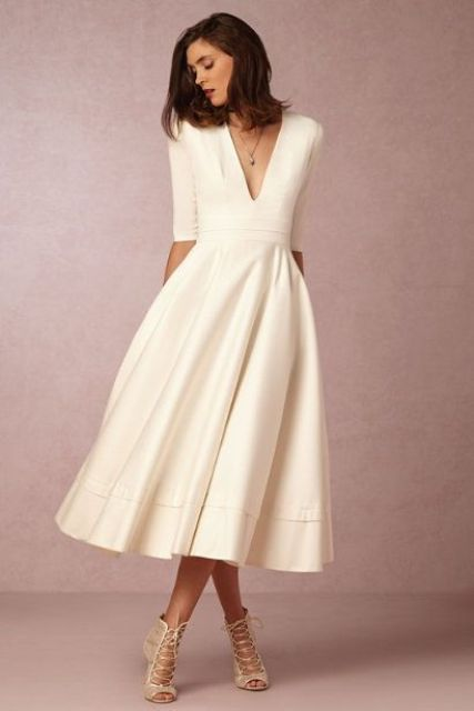 simple vestido midi blanco