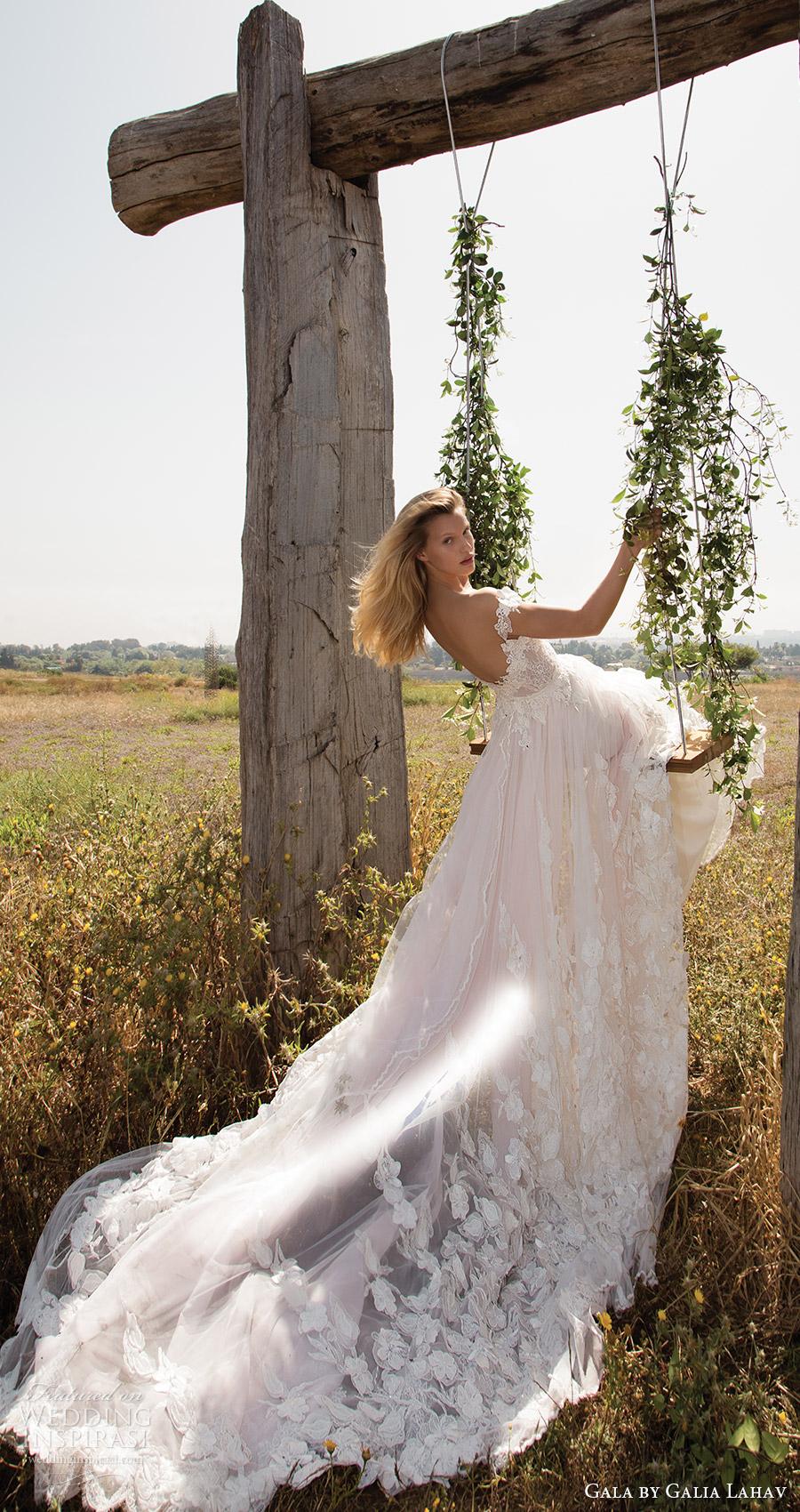 Gala de primavera galia Lahav 2017 del vestido de boda de Aline vneck profunda del hombro (710) bv tren de larga romántica