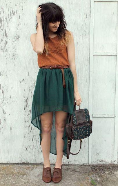 aireado alta falda baja, camisa y pisos