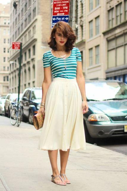 camisa rayada con la falda blanca aireado
