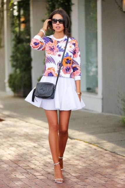 Resultado de imagen para blusa floral falda blanca