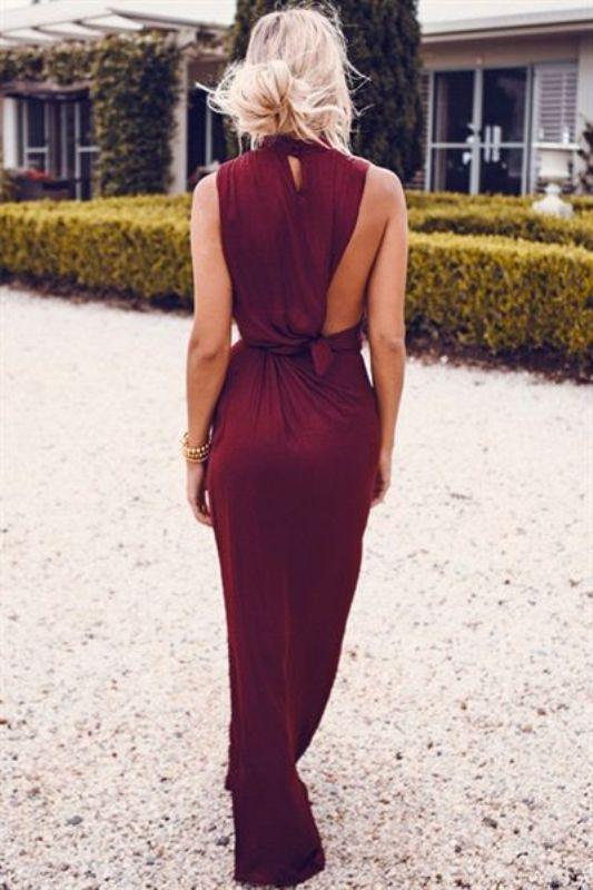 vestido maxi de color vino Creaitve