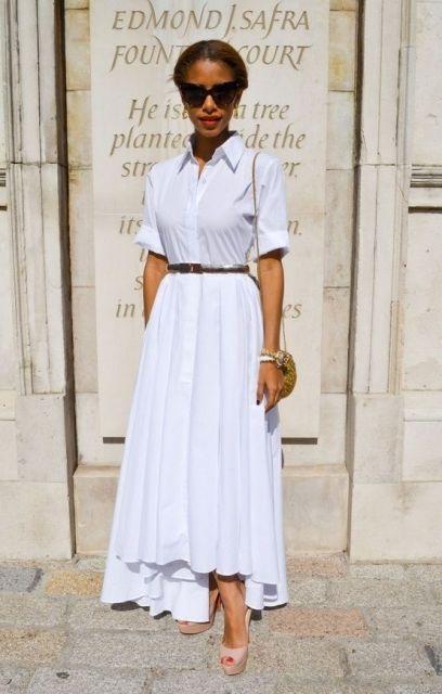 mirada ocasional con maxi falda blanca