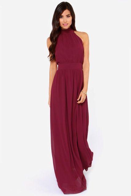 vestido de la dama Marsala maxi clásico