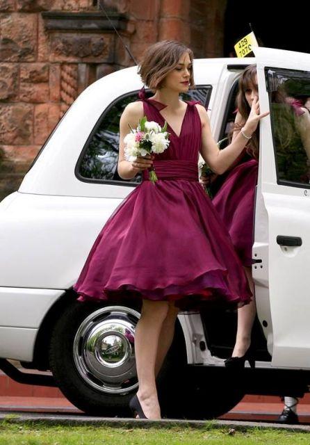 vestido de la dama de estilo retro Marsala