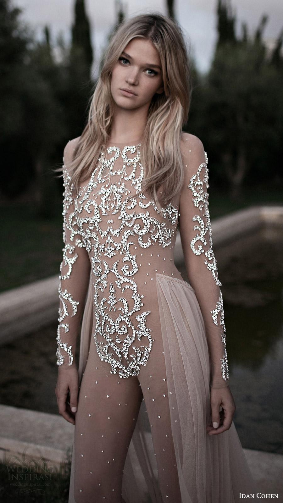 Idan Cohen de novia 2017 de la ilusión con cuentas de manga larga vestido de novia body corpiño (jennifer) mv sobrefalda