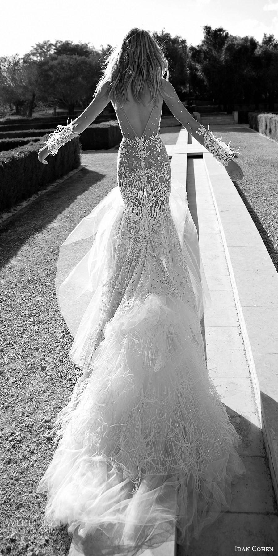 Idan Cohen de novia 2017 mangas largas ilusión del amor del cordón vestido de novia trompeta (Carolina) bv tren vback pluma