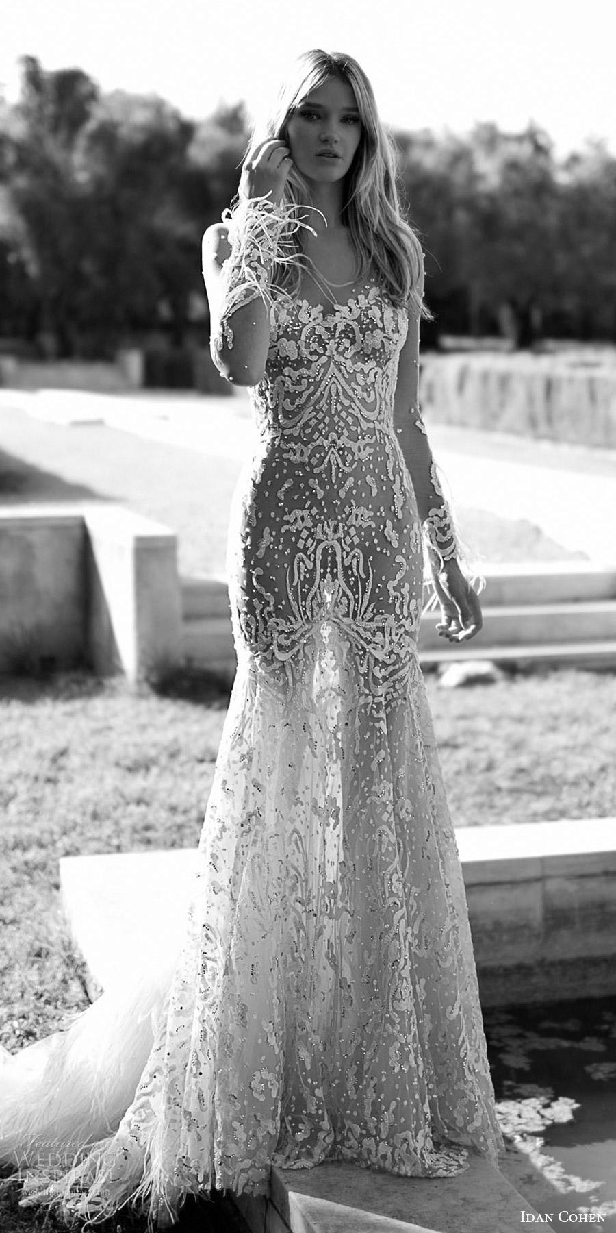 vestido de novia mv Idan Cohen 2017 mangas largas ilusión del amor del cordón de la boda de la trompeta (Carolina) mv