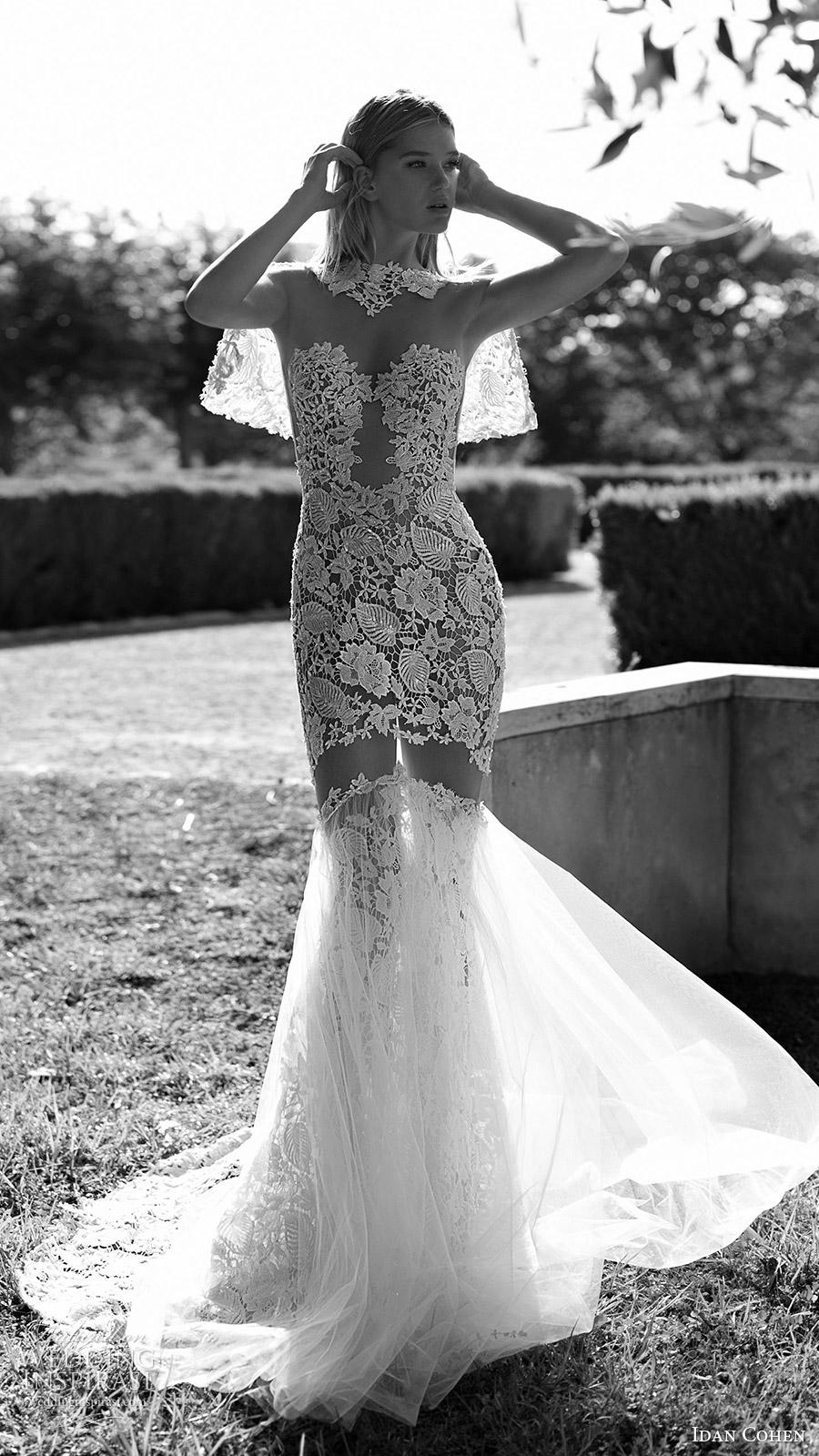 novia 2017 ilusión mangas largas escote corazón cordón de la sirena Idan Cohen vestido de novia (lia luisa) fv capelet encaje corto es larga cola