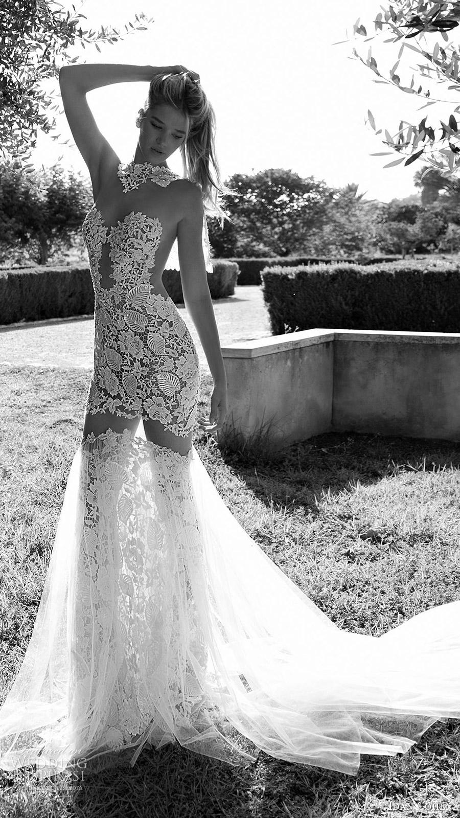 Idan Cohen nupcial 2017 ilusión mangas largas escote corazón vestido de novia de encaje de sirena (luisa lia) mv larga cola