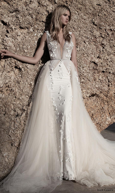 Idan Cohen de novia 2017 sin mangas del vestido de bola del vestido de boda de la envoltura profunda vneck sobrefalda (Celine Florina) mv