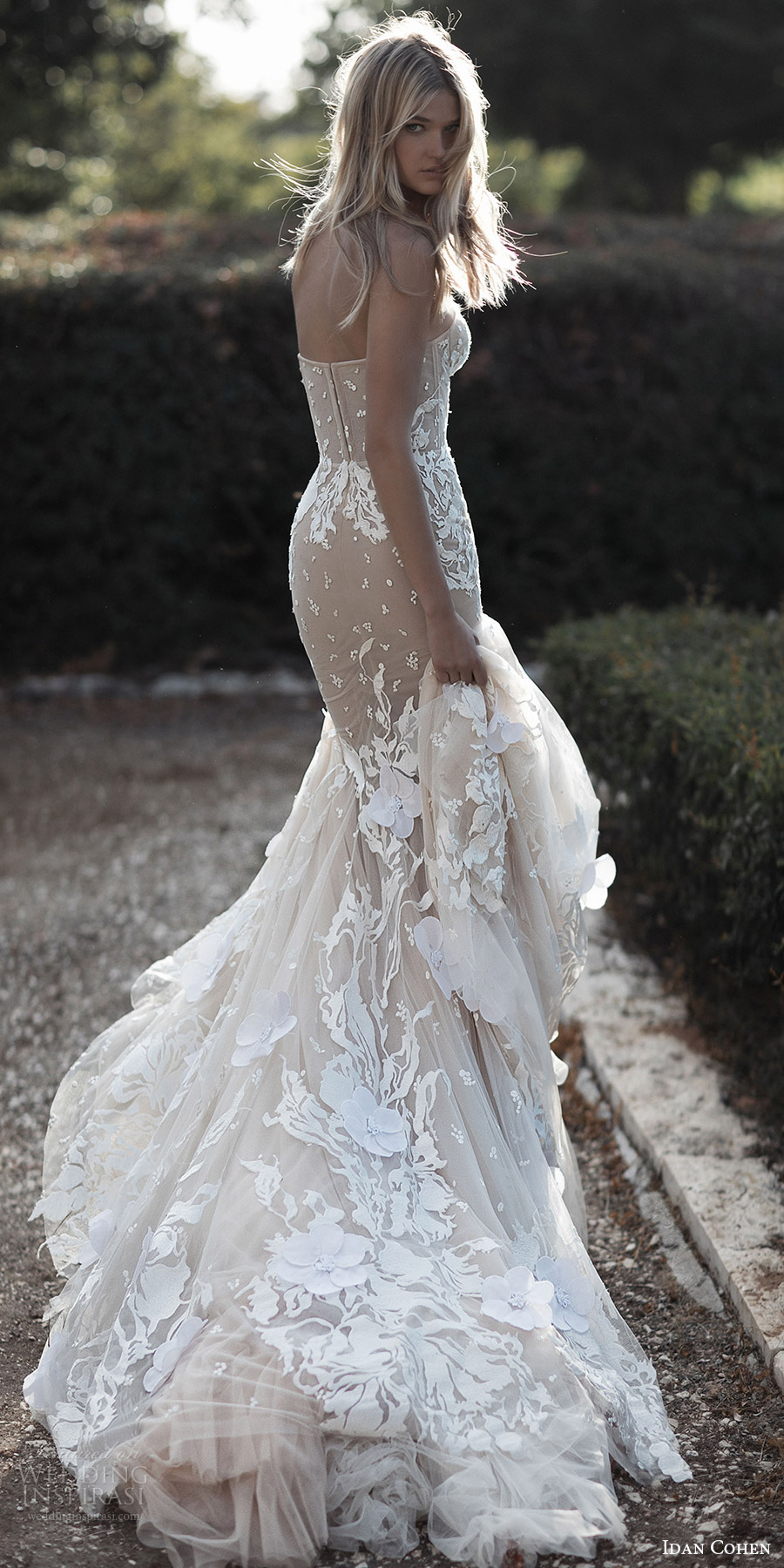 vestido de novia Idan Cohen 2017 sin tirantes de boda del amor de la sirena (Emily Mercedes) bv larga cola