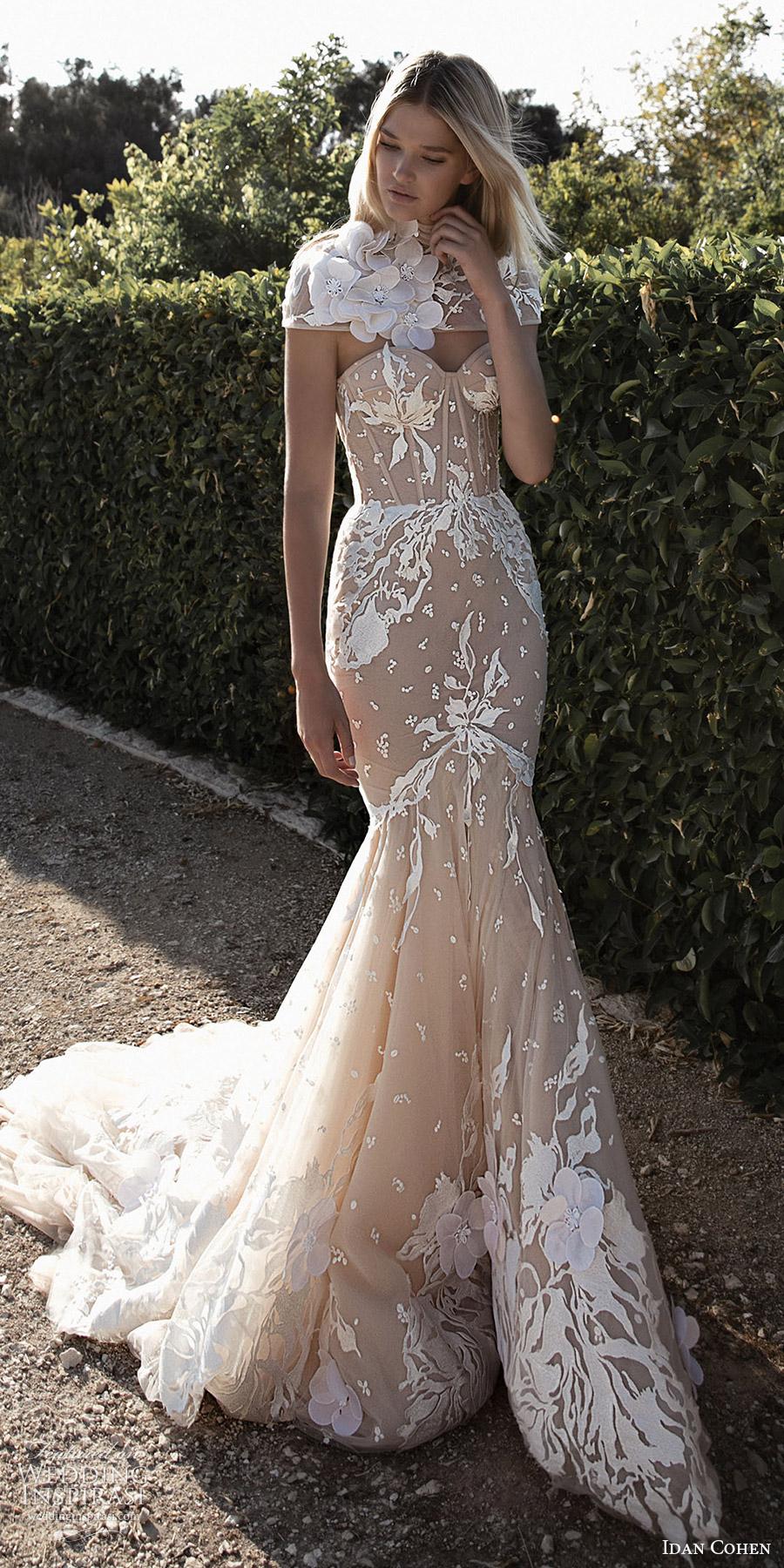 vestido de novia Idan Cohen 2017 sin tirantes de boda del amor de la sirena (Emily Mercedes) fv capelet