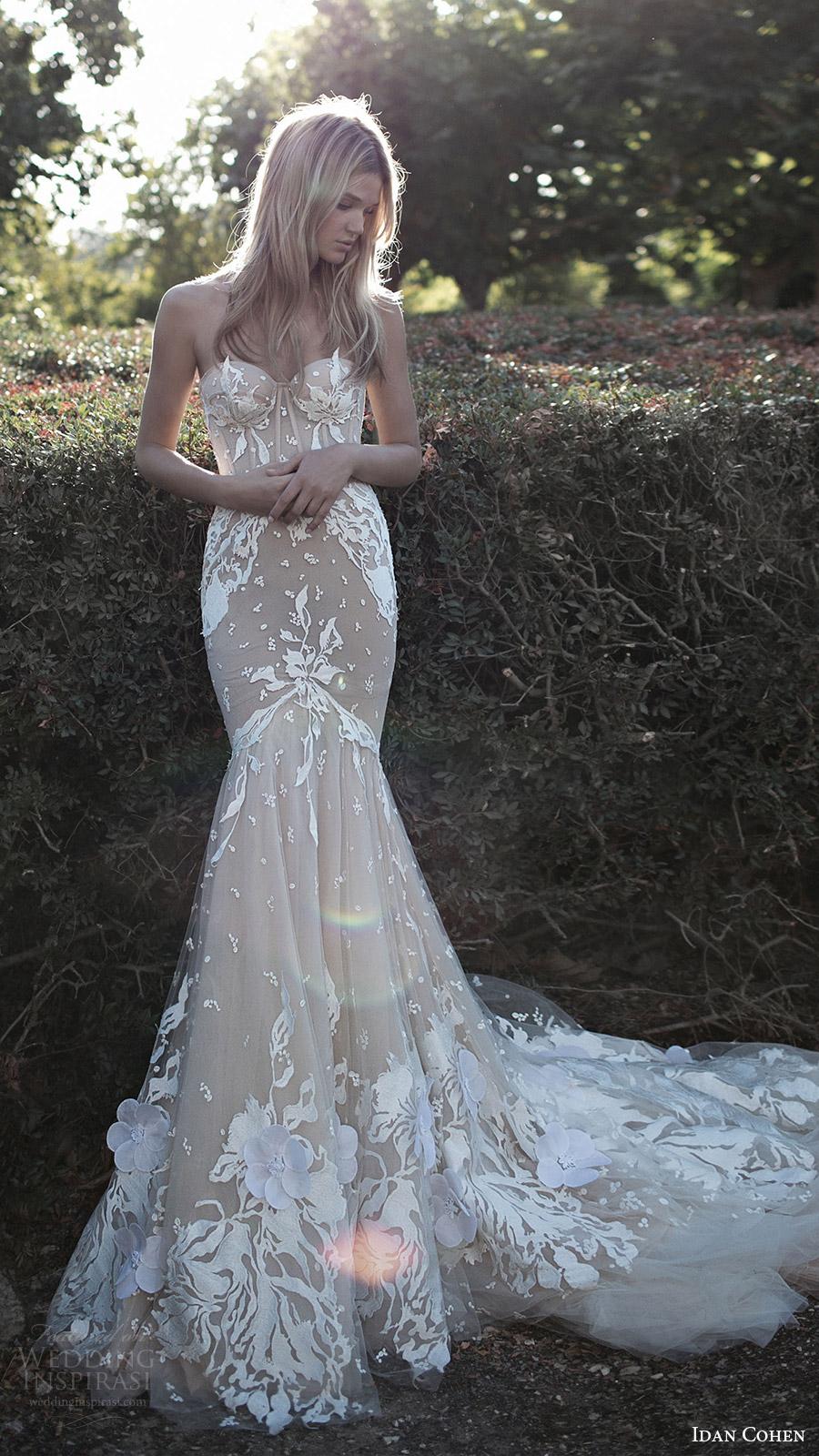 vestido de novia de la sirena del amor mv Idan Cohen de novia sin tirantes de 2017 (Emily Mercedes) mv