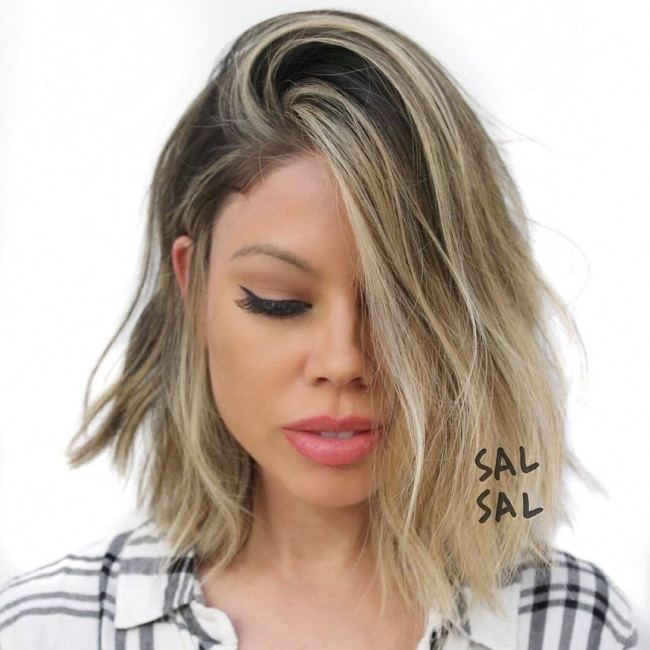 Medio de longitud peinados 18