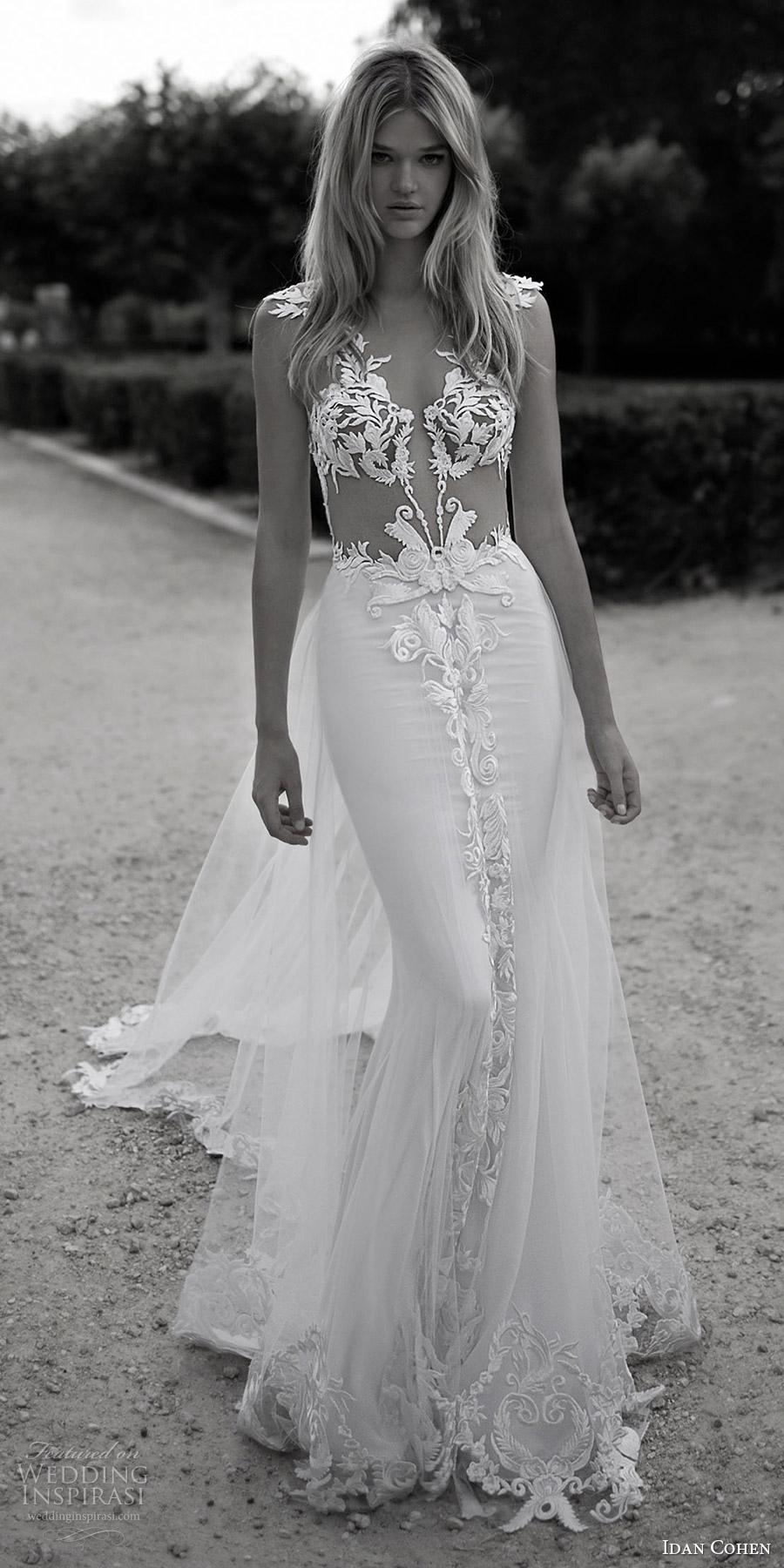 vestido de novia Idan Cohen 2017 manga del casquillo de la boda envoltura del cordón profundo cuello en v (Violette) mv tren
