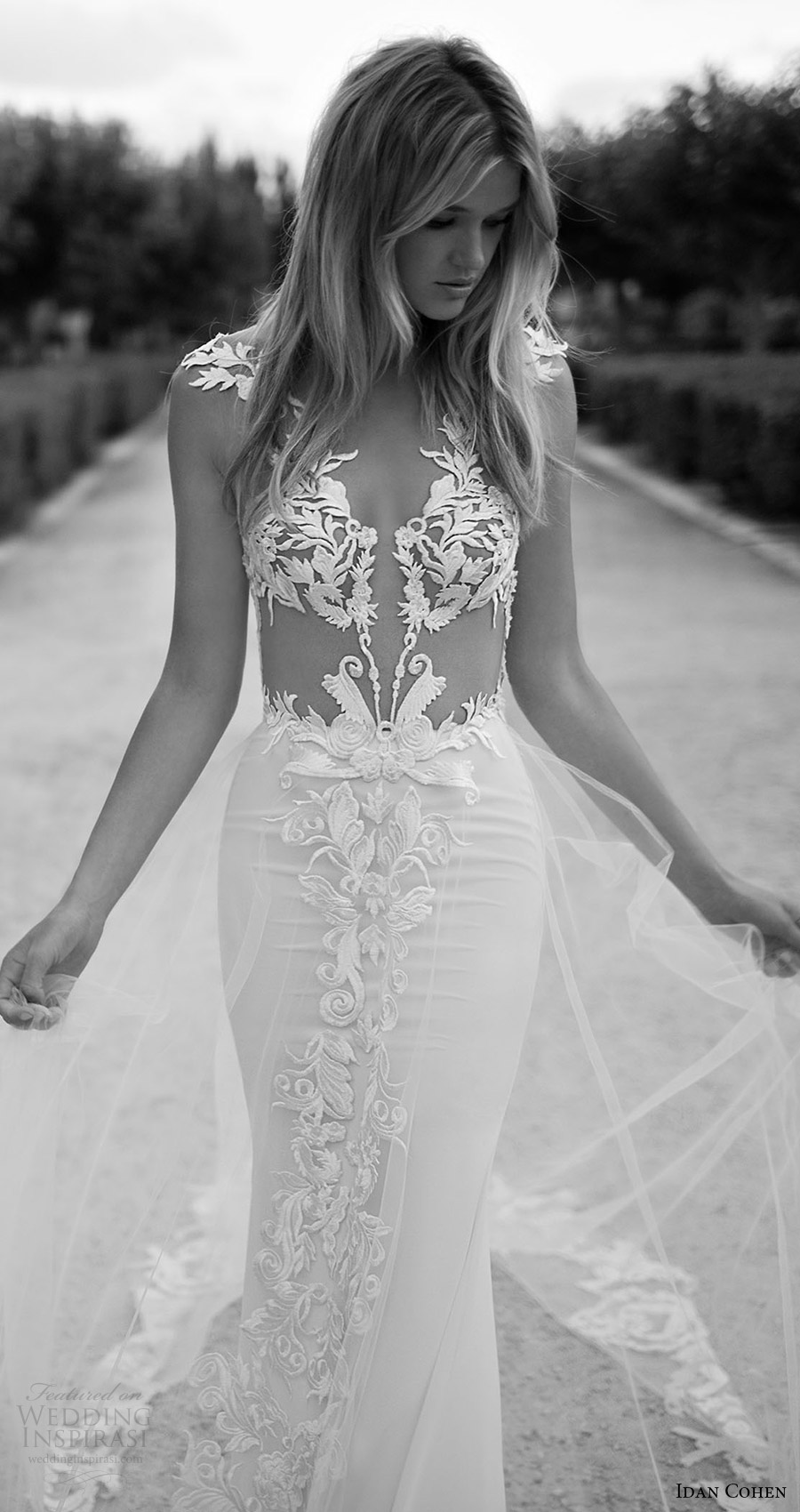 vestido de novia de la envoltura del cordón profundo vneck 2017 manga del casquillo de novia Idan Cohen (Violette) ZFV tren