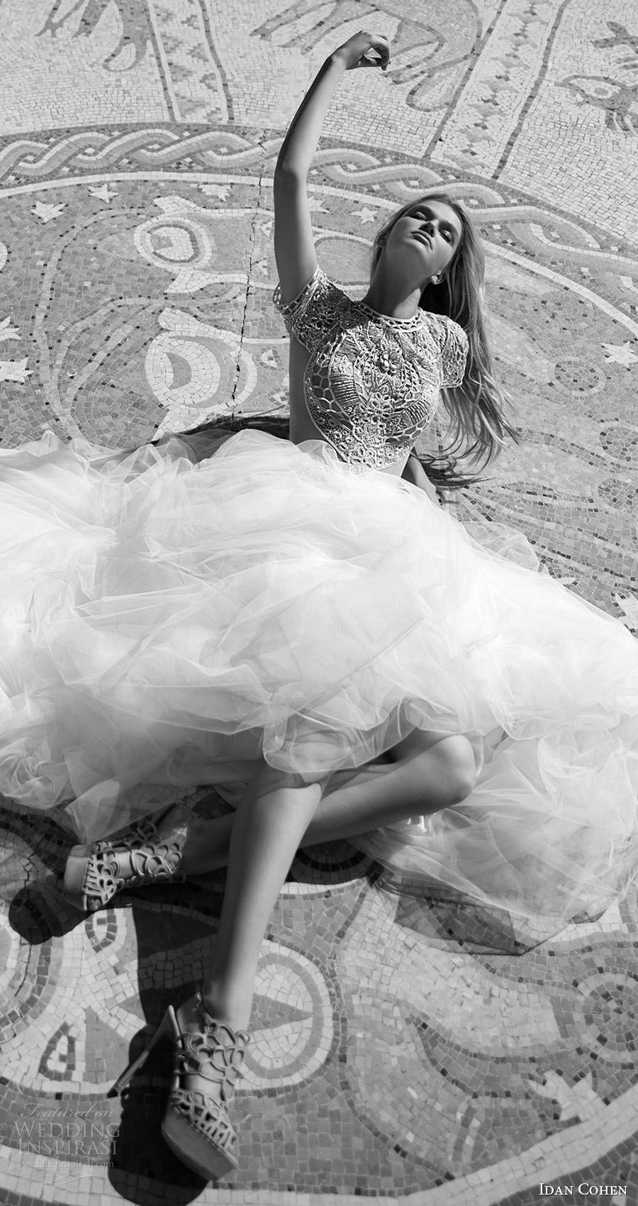 2017 de novia vestido de novia vestido de bola moldeado del cuello de la manga casquillo joya corpiño Idan Cohen (Carla del río ) fv