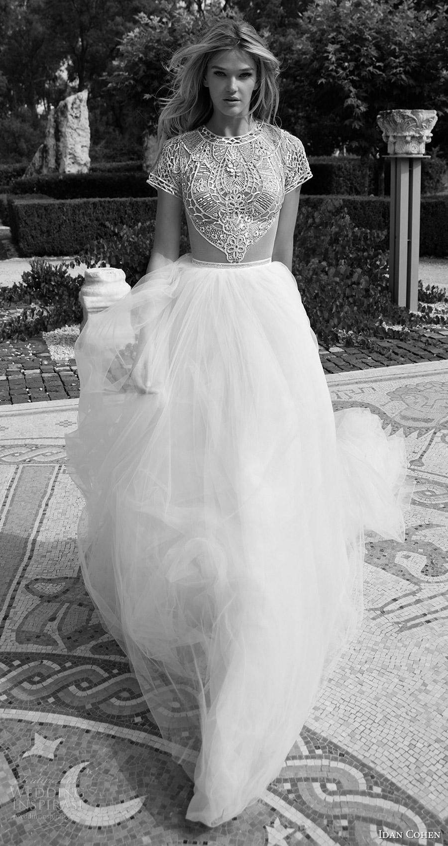 Idan Cohen nupcial 2017 del vestido de boda del vestido de bola moldeado del cuello de la manga casquillo joya corpiño Idan mv (Carla el río) mv