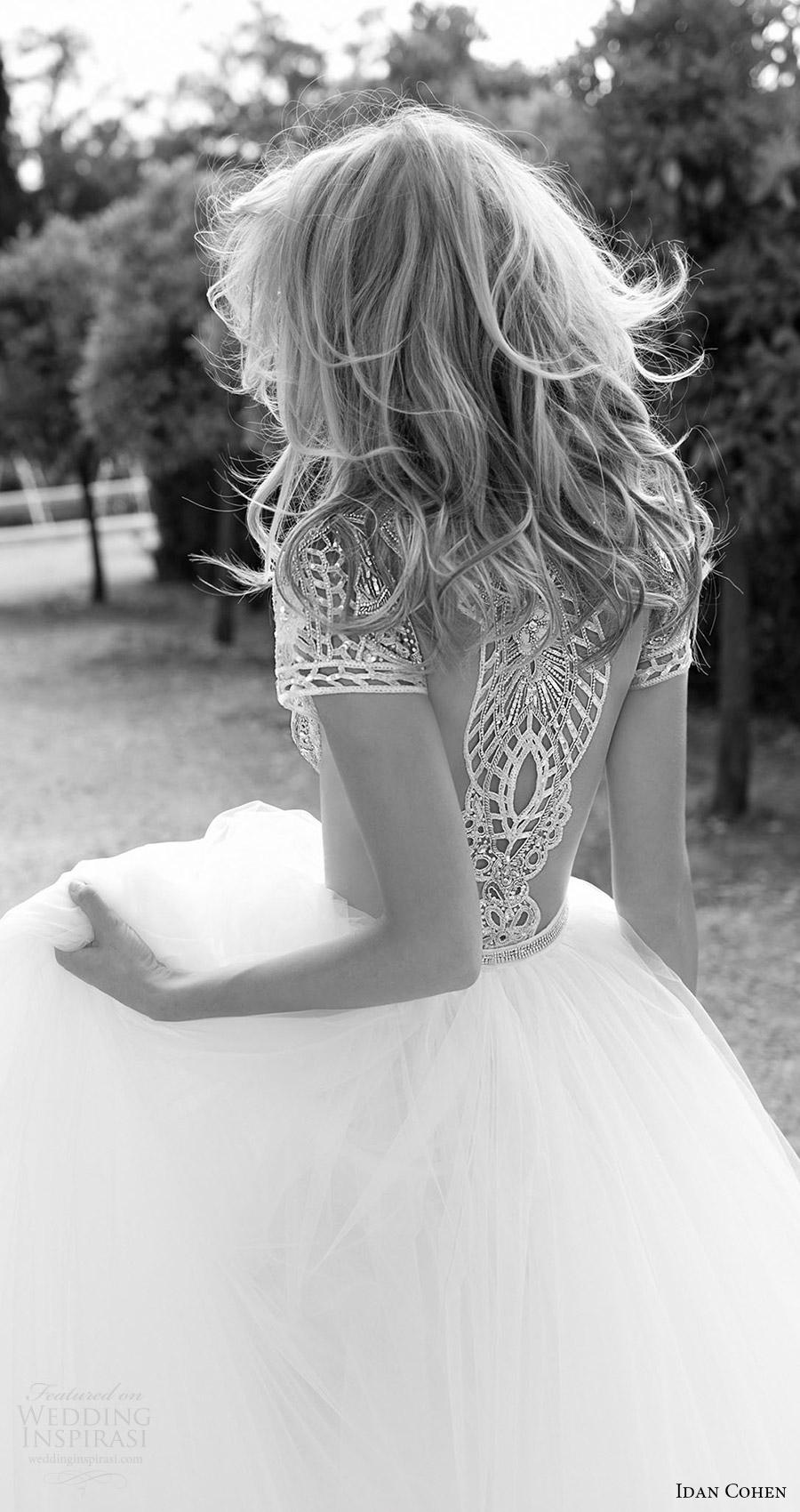 Idan Cohen nupcial 2017 del vestido de boda del vestido de bola moldeado del cuello de la manga casquillo joya corpiño (Carla el río) ZBV ilusión volver