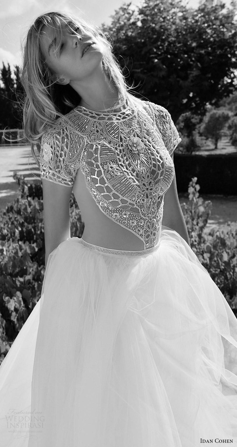 2017 de novia vestido de novia vestido de bola moldeado del cuello de la manga casquillo joya corpiño Idan Cohen (Carla del río) zv