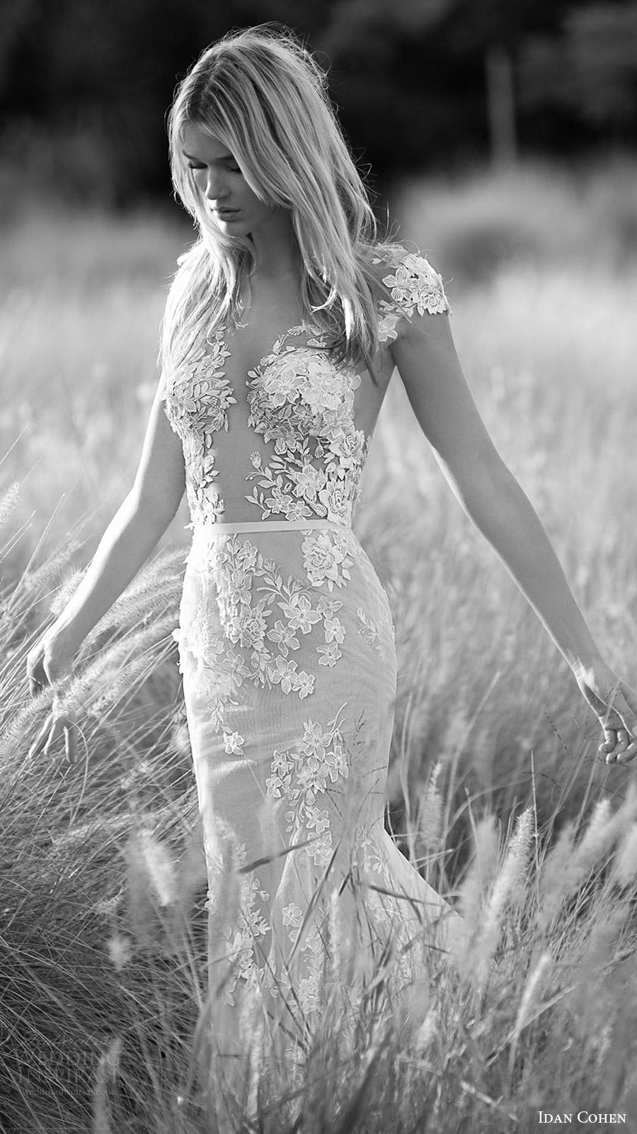 Idan Cohen nupcial 2017 del vestido de boda del cordón de la manga casquillo vneck ilusión corpiño trompeta (princesa de ella) ZFV