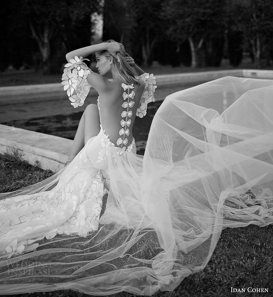 vestido de Idan Cohen nupcial 2017 aleteo novia de la vaina manguito partido novia (37) bv dividida ilusión arco de la falda volver larga cola