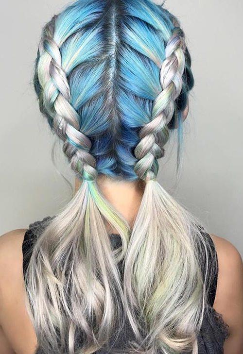 Blue cuadro gris Trenzas