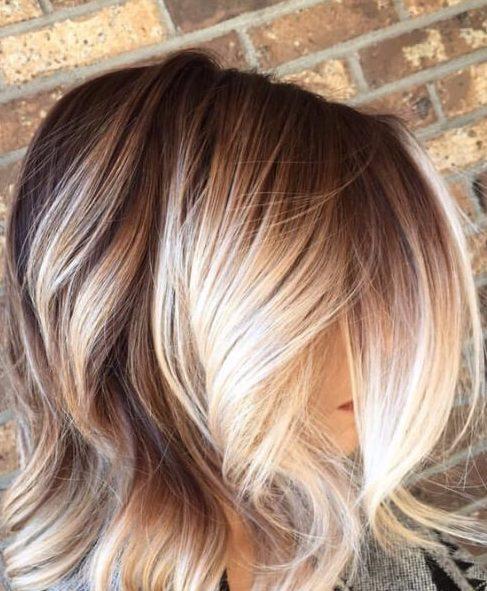 balayage el pelo corto, rubio, de otoño a invierno