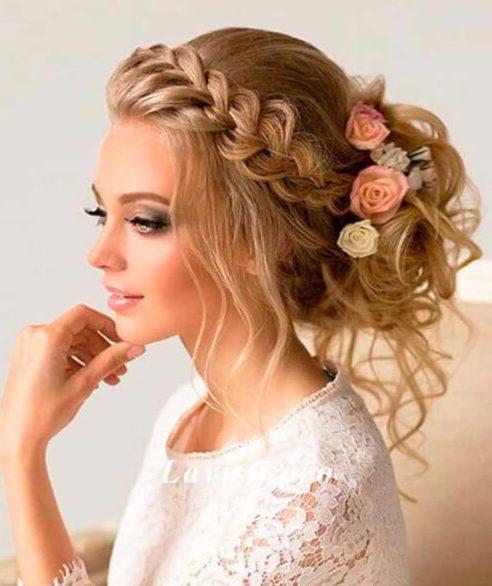 cola de pescado de la corona de trenza peinados de boda para el pelo largo