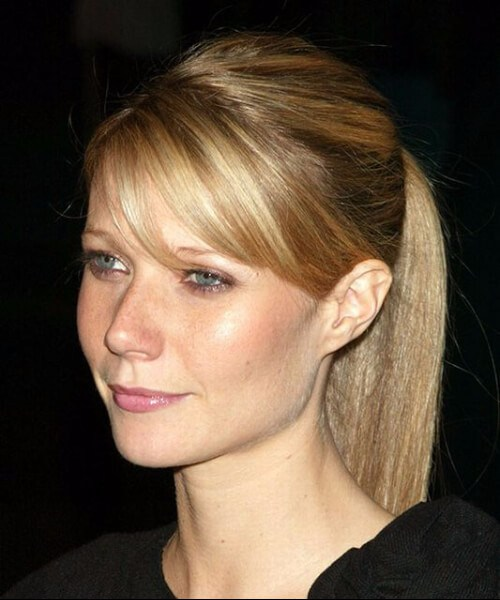 gwyneth paltrow, de pelo largo con flequillo