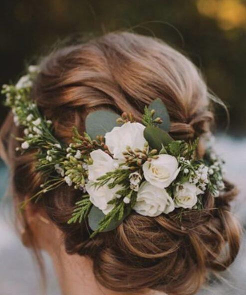 el invierno de la boda del árbol de pino peinados de boda para el pelo largo