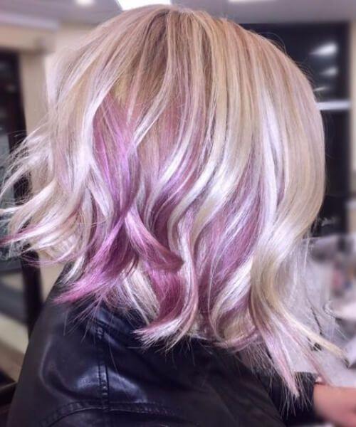 lila balayage el pelo corto