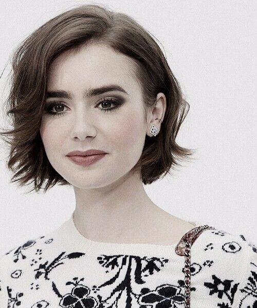 lily collins cortes de pelo corto para el cabello grueso